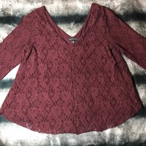 American Eagle Maroon Lace Detail Top